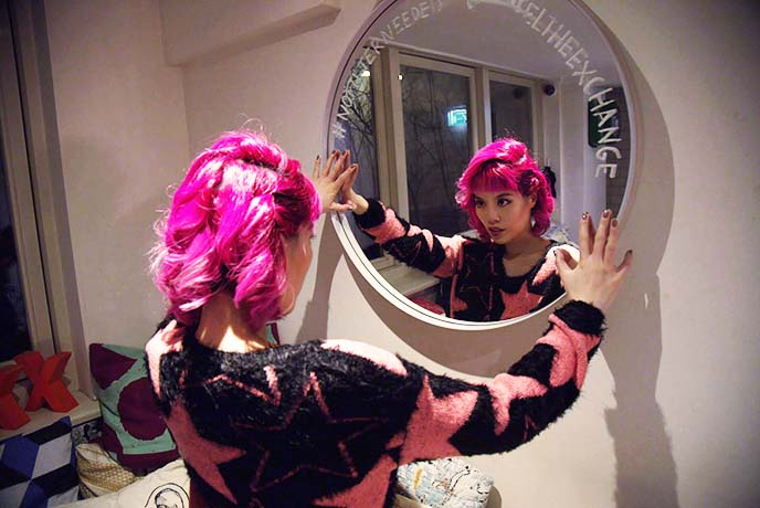 bright pink curled hair hairstyle