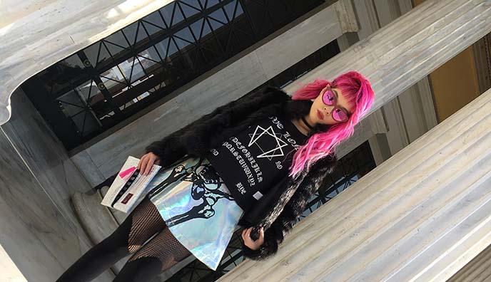 bright pink goth long hair