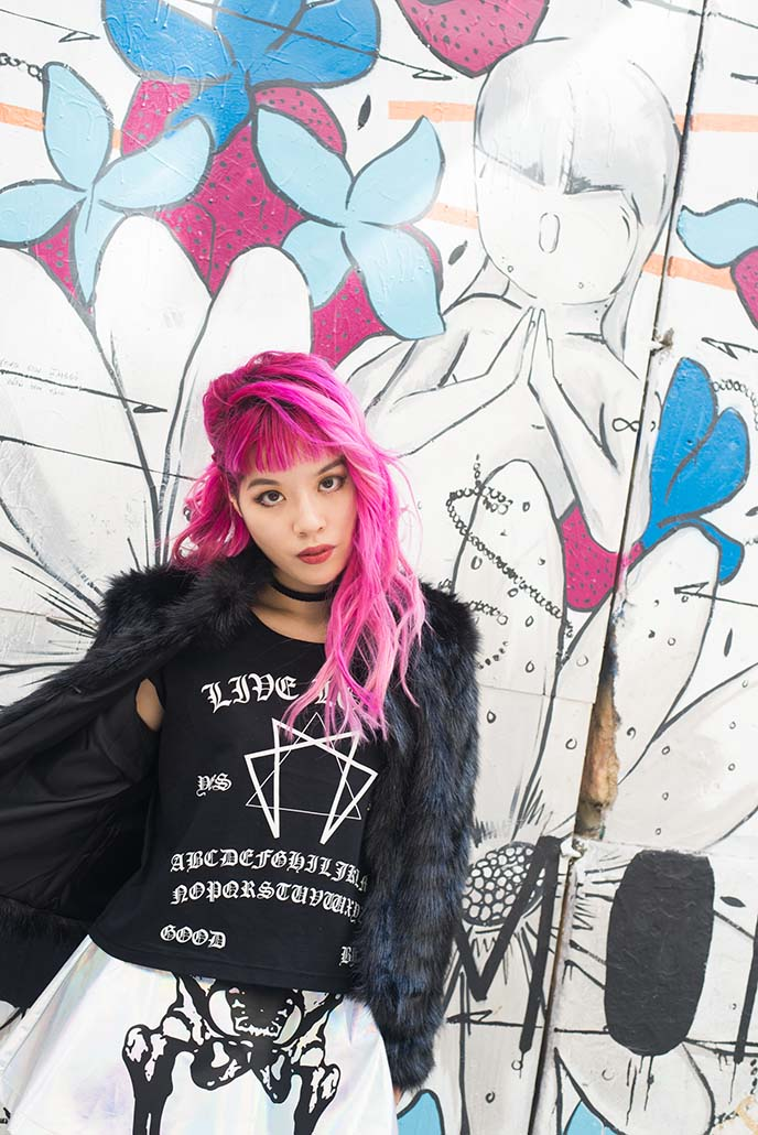asian pink hair, gothic fashion