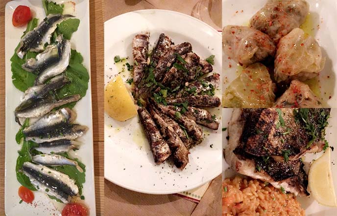 greek food, sea bass, sardines