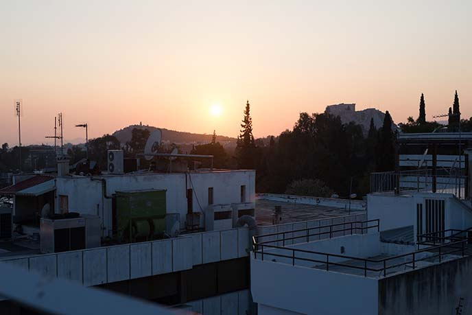 rooftop sunset athens greece