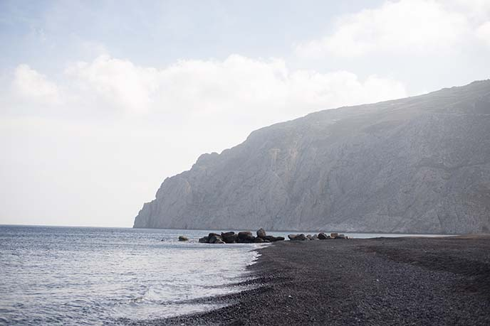 black sand beach santorini greece