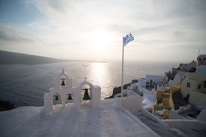 santorini church bells, greek flag