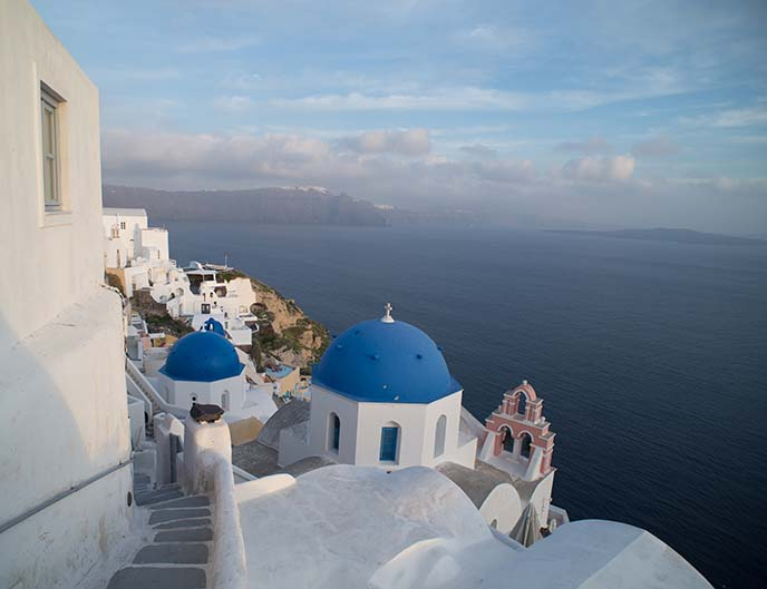 oia santorini blue roof churches