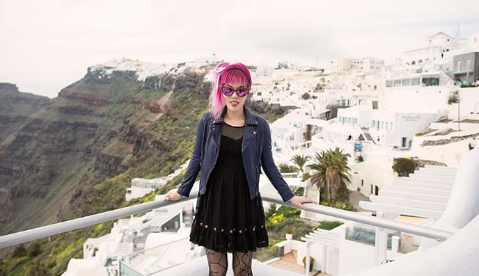 travel blogger girl santorini greece