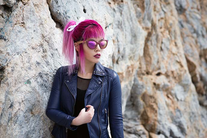 pink hair ponytail, hairstyle