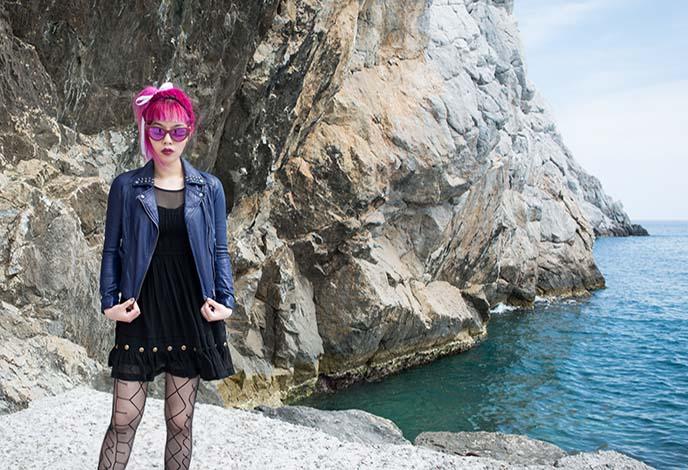blue white dress greek fashion blog