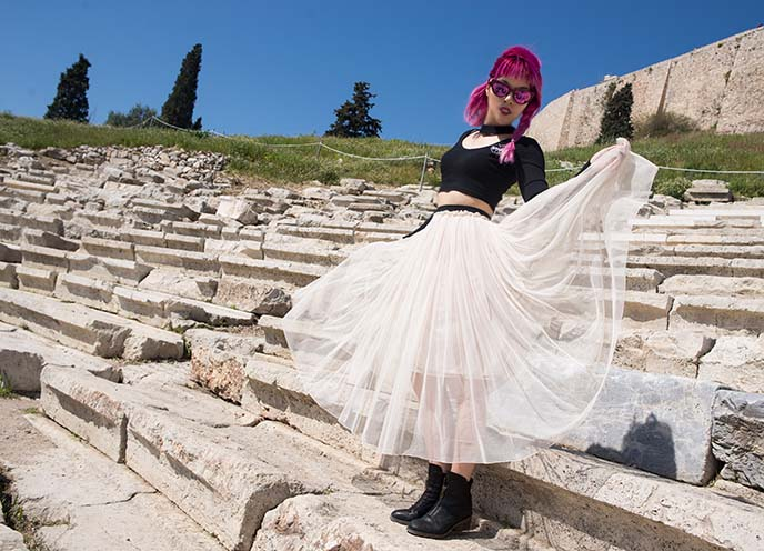 ancient greek ruins, athens style dress