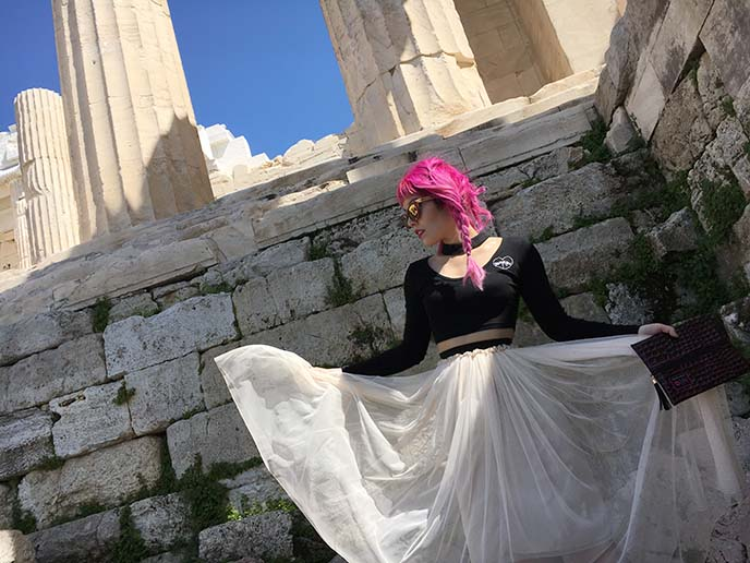 female travel blogger parthenon acropolis