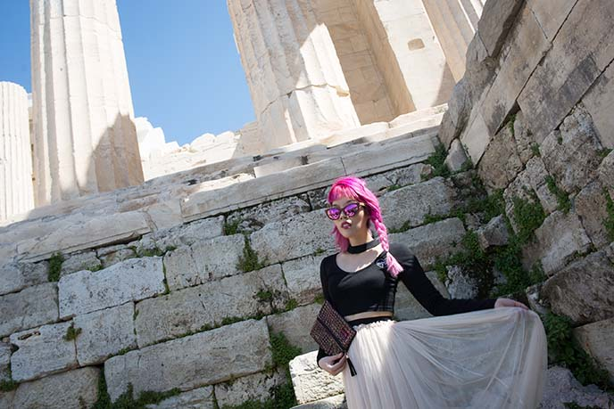 athens girl Propylaia entrance to Acropolis