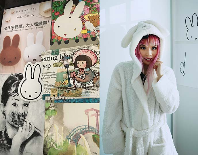 miffy white bunny ears bathrobe
