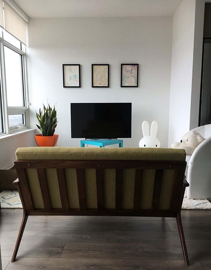 midcentury modern minimal living room