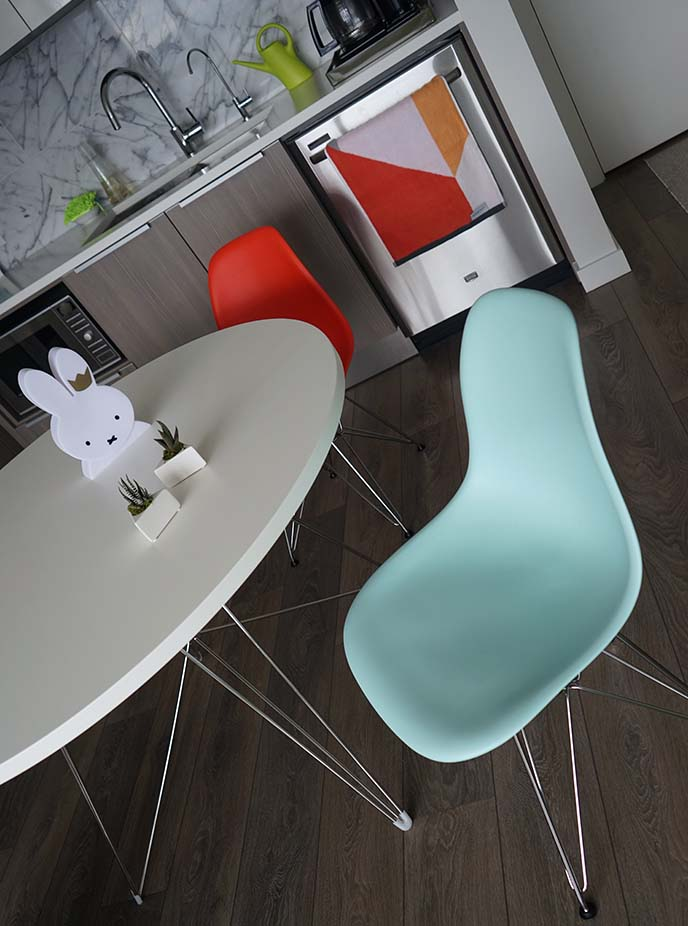 eames eiffel chairs, dining room table
