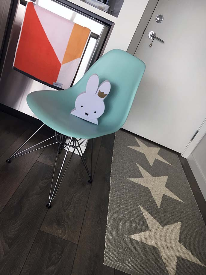 teal eames chair, miffy table lamp