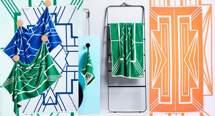 geometric pattern towels australia