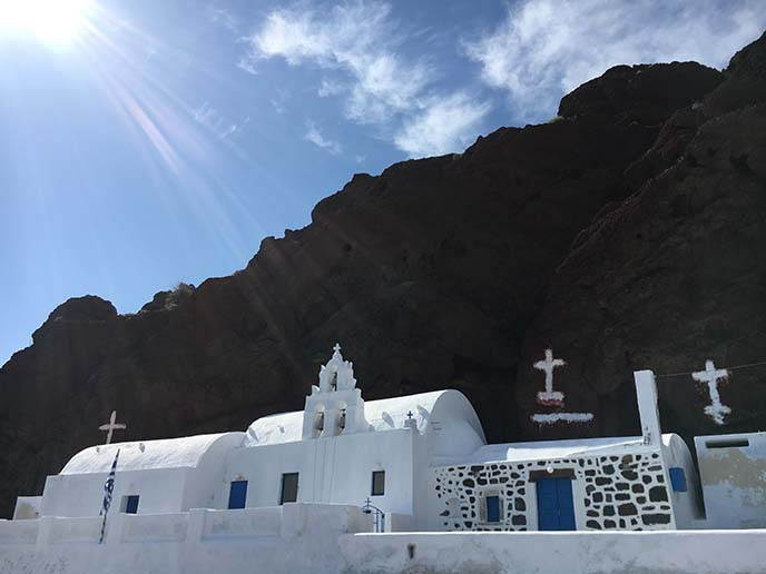 santorini red beach church