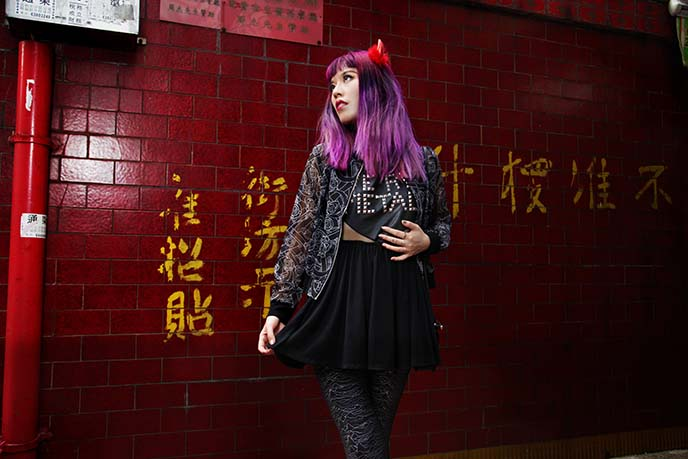purple hair asian model chinese girl