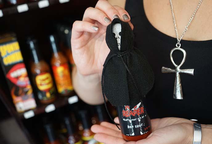 grim reaper hot sauce bottle
