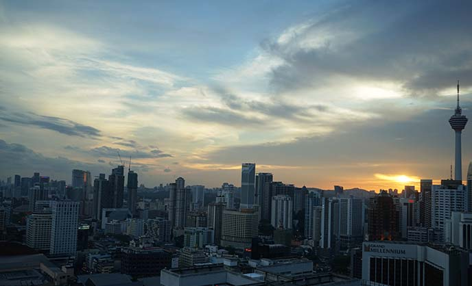 kl tower kuala lumpur sunset view