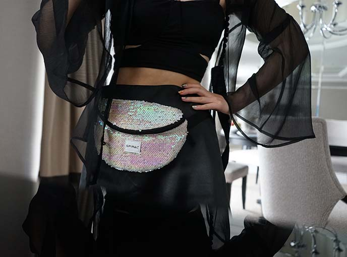 spiral uk sequin fanny pack