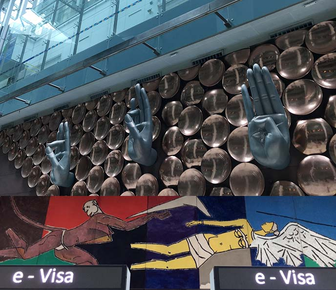 new delhi gandhi airport hands sculptures