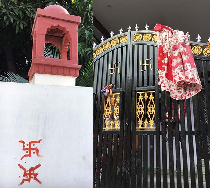 india swastikas on doors
