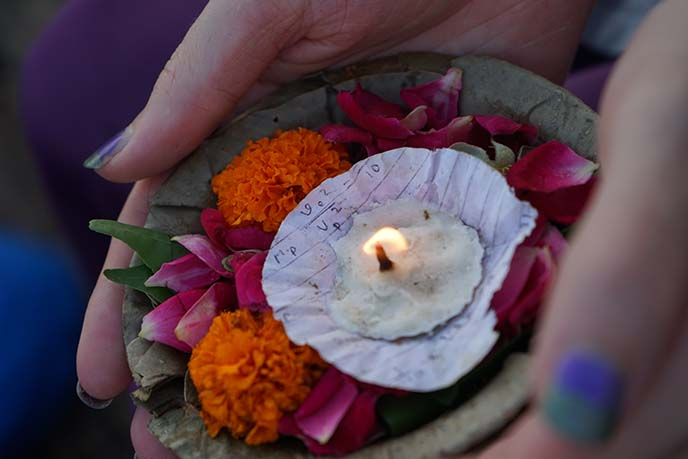 hindu candles flowers