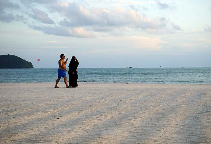 burkas on beach, muslim swimwear