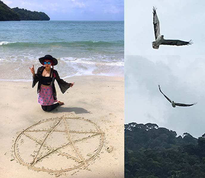 pentagram drawn on beach, sand