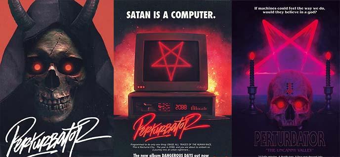 perturbator concert posters, logo