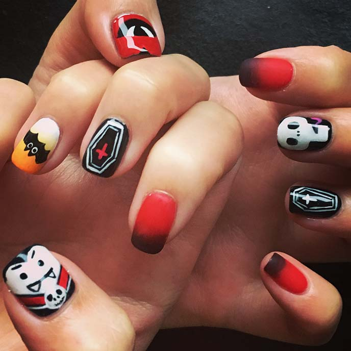 vampire dracula nail art halloween nails