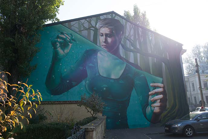 bucharest woman big mural sweet damage crew