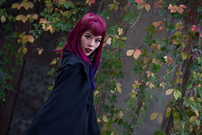 vampire v shaped bangs hairstyle
