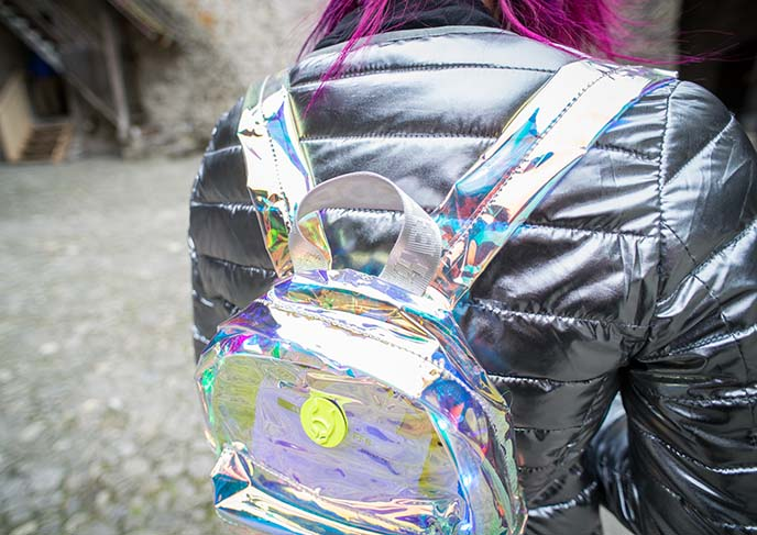 iridescent holographic backpack bag
