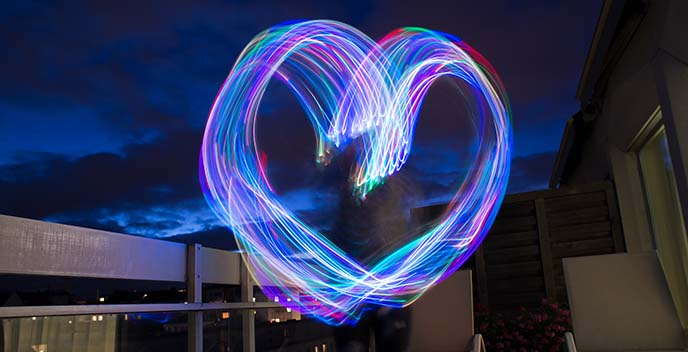 heart shape lights long exposure