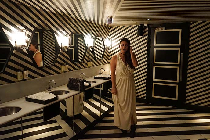 black white striped bathroom