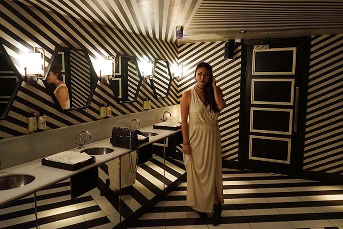 black white striped bathroom