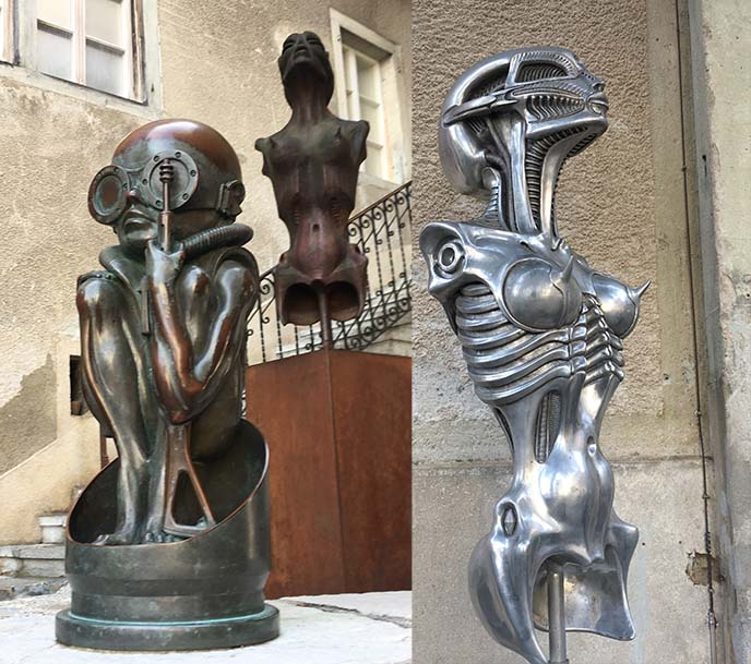 hr giger biomechanical sculptures