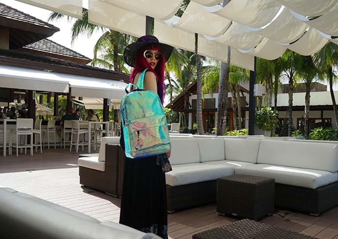 spiral uk holographic mermaid backpack