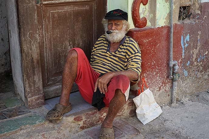 cuban man smoking pipe