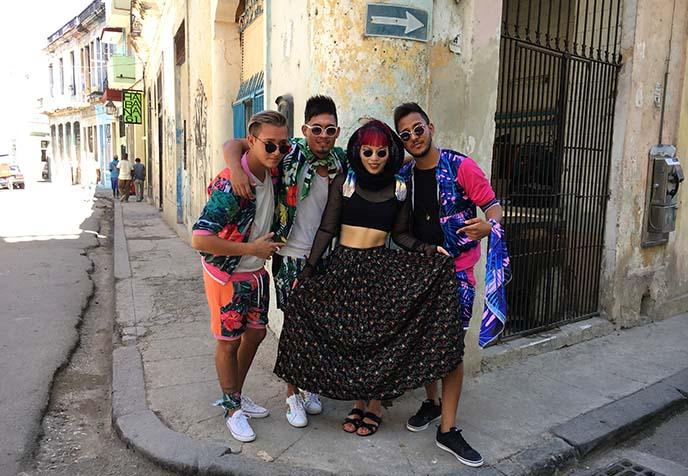 havana cuba street musicians urban hip hop stars, dancers, cuban band, street style fashion havana