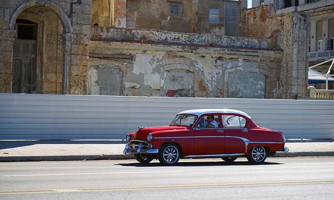 cuban red vintage car