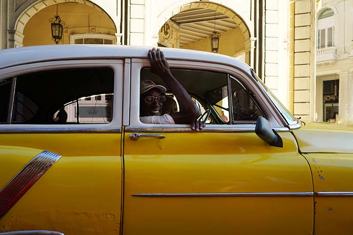 yellow cuban taxi, old cars