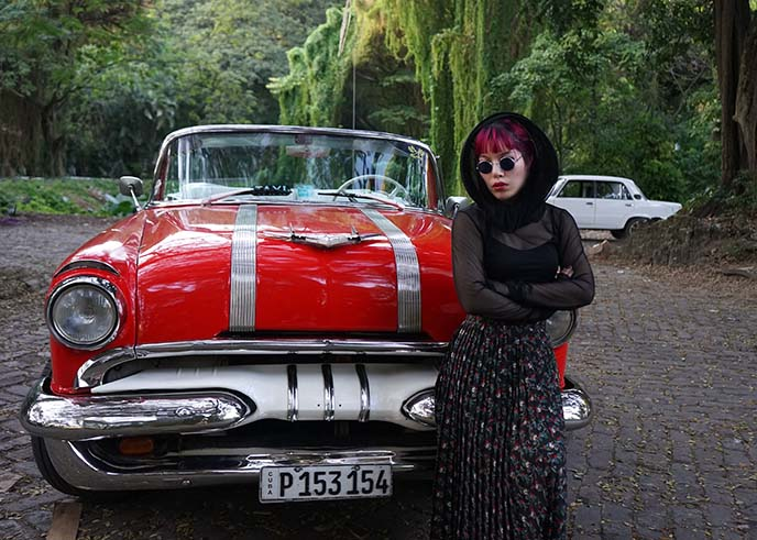 red vintage convertible cuba