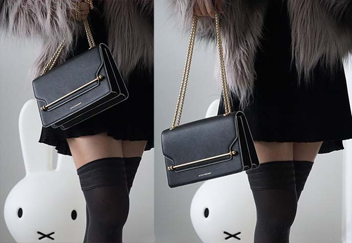 strathberry black leather crossbody purse
