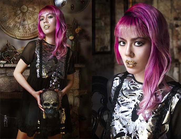 silver goth dress gold lipstick