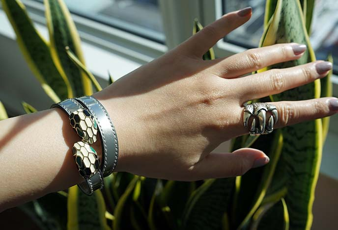 bulgari serpenti silver leather wrap bracelet jewelry
