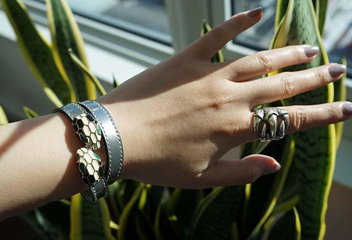 bulgari serpenti silver leather wrap bracelet jewelry