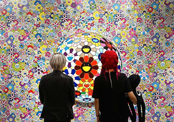 smiling flowers flower ball murakami painting