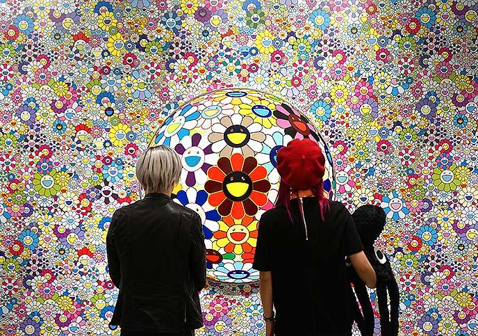 smiling flowers flower ball murakami painting